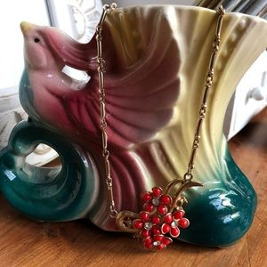 Vintage Retro Red Coral Beads Gold Necklace
